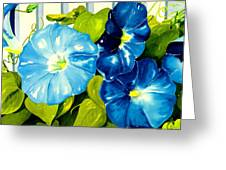 Morning Glories In Blue Greeting Card by Janis Grau