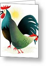 Morning Glory Rooster And Hen Wake Up Call Greeting Card