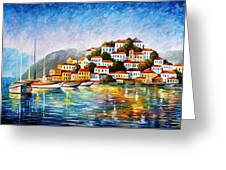 Morning Harbor - Palette Knife Oil Painting On Canvas By Leonid Afremov Greeting Card
