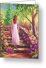 Morning In Her Garden Greeting Card