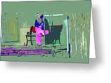 Morning In Her Pink Pajamas Greeting Card
