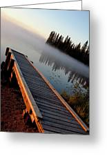 Morning Mist Over Lynx Lake In Northern Saskatchewan Greeting Card
