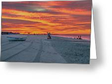 Morning Red Sky At Cape May New Jersey Greeting Card