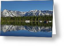 Morning Reflection Boats On Colter Bay Greeting Card