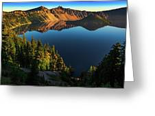 Morning Reflection On Crater Lake Greeting Card by John Hight