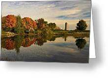 Morning Reflections Of Autumn Colours On A Farm Pond Greeting Card