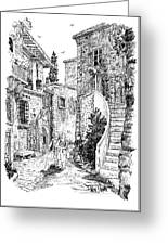Morning Stroll In Montefioralle Tuscany Greeting Card