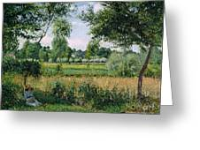 Morning Sunlight Effect At Eragny Greeting Card by Camille Pissarro