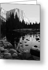 Morning Sunlight On El Cap - Black And White Greeting Card