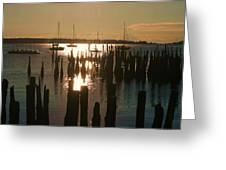 Morning Sunrise Over Bay. Greeting Card