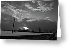 Morning Train In Black And White Greeting Card