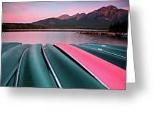 Morning View Of Pyramid Lake In Jasper National Park Greeting Card