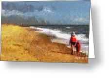 Morning Walk Along The Beach Greeting Card