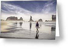Morning Walk At The Beach Greeting Card