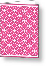 Moroccan Endless Circles I With Border In French Pink Greeting Card