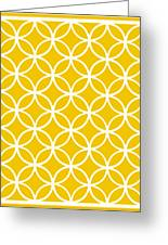Moroccan Endless Circles I With Border In Mustard Greeting Card