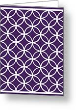 Moroccan Endless Circles I With Border In Purple Greeting Card