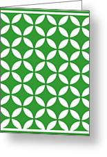 Moroccan Endless Circles II With Border In Dublin Green Greeting Card