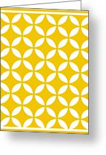 Moroccan Endless Circles II With Border In Mustard Greeting Card