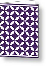 Moroccan Endless Circles II With Border In Purple Greeting Card