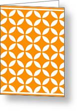 Moroccan Endless Circles II With Border In Tangerine Greeting Card