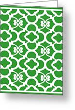 Moroccan Floral Inspired With Border In Dublin Green Greeting Card