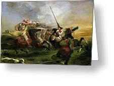 Moroccan Horsemen In Military Action Greeting Card