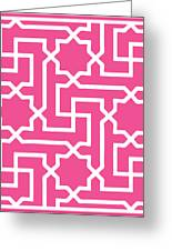 Moroccan Key With Border In French Pink Greeting Card