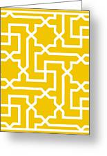 Moroccan Key With Border In Mustard Greeting Card