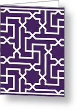 Moroccan Key With Border In Purple Greeting Card