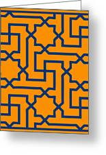 Moroccan Key With Border In Tangerine Greeting Card