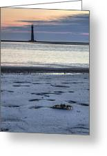 Morris Island Lighthouse And Crab Greeting Card
