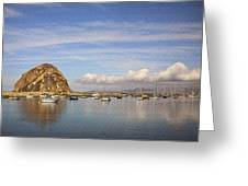 Morro Harbor And Rain Clouds Greeting Card