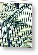 Mosaic And Iron Staircase La Quinta California Art District In Mint Tones Photograph By Colleen Greeting Card