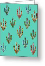 Mosaic Cacti On Aqua Greeting Card