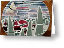 Mosaic Sailboats Greeting Card by Jamie Frier