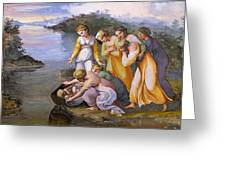 Moses Saved From The Waters Raffaello Sanzio Da Urbino Raphael Raffaello Santi Greeting Card