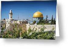 Mosques In Old Town Of Jerusalem Israel Greeting Card