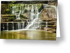 Mossy Flowing Waterfalls In Enfield Glen Greeting Card