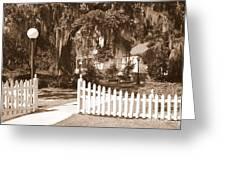 Mossy Live Oak And Picket Fence Greeting Card