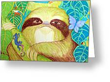 Mossy Sloth Greeting Card