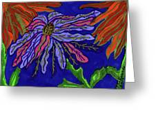 Most Unusual Poinsettia In A Midnight Blue Sky Greeting Card