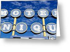 Motel Unique Sign Seligman Az Greeting Card