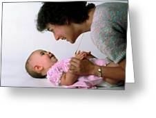 Mother And Baby Girl Smiling Greeting Card