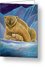 Mother And Baby Polar Bears Greeting Card
