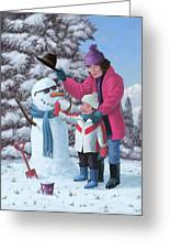 Mother And Child Building Snowman Greeting Card