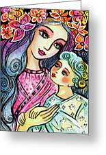 Mother And Child In Blue Greeting Card