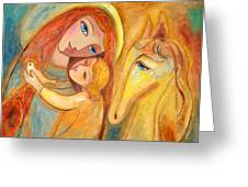 Mother And Child On Horse Greeting Card