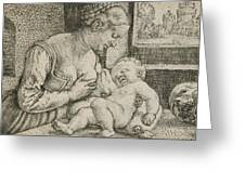 Mother And Child With Skull And Hourglass Greeting Card
