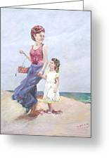Mother And Daughter At The  Beach Greeting Card